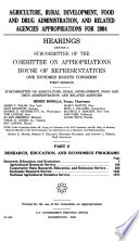 108 1 Hearings  Agriculture  Rural Development  Food and Drug Administration  Etc   Part 6  2004