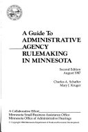 A Guide To Administrative Agency Rulemaking In Minnesota