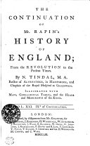 The Continuation Of Mr  Rapin s History of England