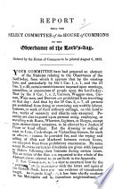 Report from the Select Committee of the House of Commons on the Observance of the Lord's Day ... August ... 1832