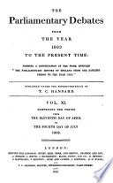 The Parliamentary Debates from the Year 1803 to the Present Time:: 11