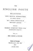 The English Poets  Ben Jonson to Dryden