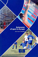 Pdf Autonomy of Sport in Europe Telecharger