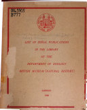 List Of Serial Publications In The Library Of The Department Of Zoology