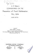 A. P. Mathur's Commentaries on the Prevention of Food Adulteration Act, 1954