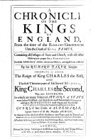 A Chronicle of the Kings of England from the time of the Romans government unto the raigne of our soueraigne Lord King Charles, etc. Few ms. notes