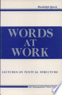Words at Work, Lectures on Textual Structure by Randolph Quirk PDF