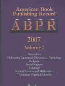 American Book Publishing Record Annual Cumulative  2007 Book