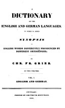 Dictionary Of The English And German Languages English And German