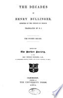 The Decades of Henry Bullinger  Minister of the Church of Zurich Book