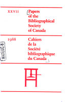 Papers Of The Bibliographical Society Of Canada
