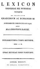 Lexicon universae rei nummariae veterum et praecipuie ...