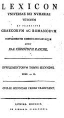 Lexicon Universae Rei Numariae Veterum Et Praecipue ...
