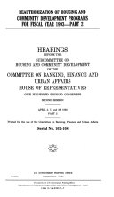 Reauthorization of Housing and Community Development Programs for Fiscal Year 1993