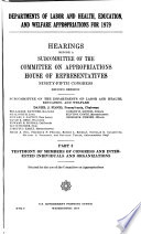 Departments Of Labor And Health Education And Welfare Appropriations For 1979