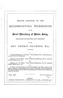 Second appendix to the Accompanying harmonies to the Brief directory of plain song