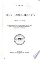 Index To The City Documents 1834 1891