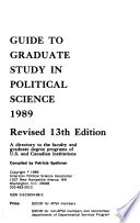 A Guide to Graduate Study in Political Science