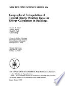 Geographical Extrapolation of Typical Hourly Weather Data for Energy Calculation in Buildings