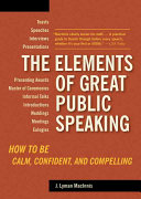The Elements of Great Public Speaking Book PDF