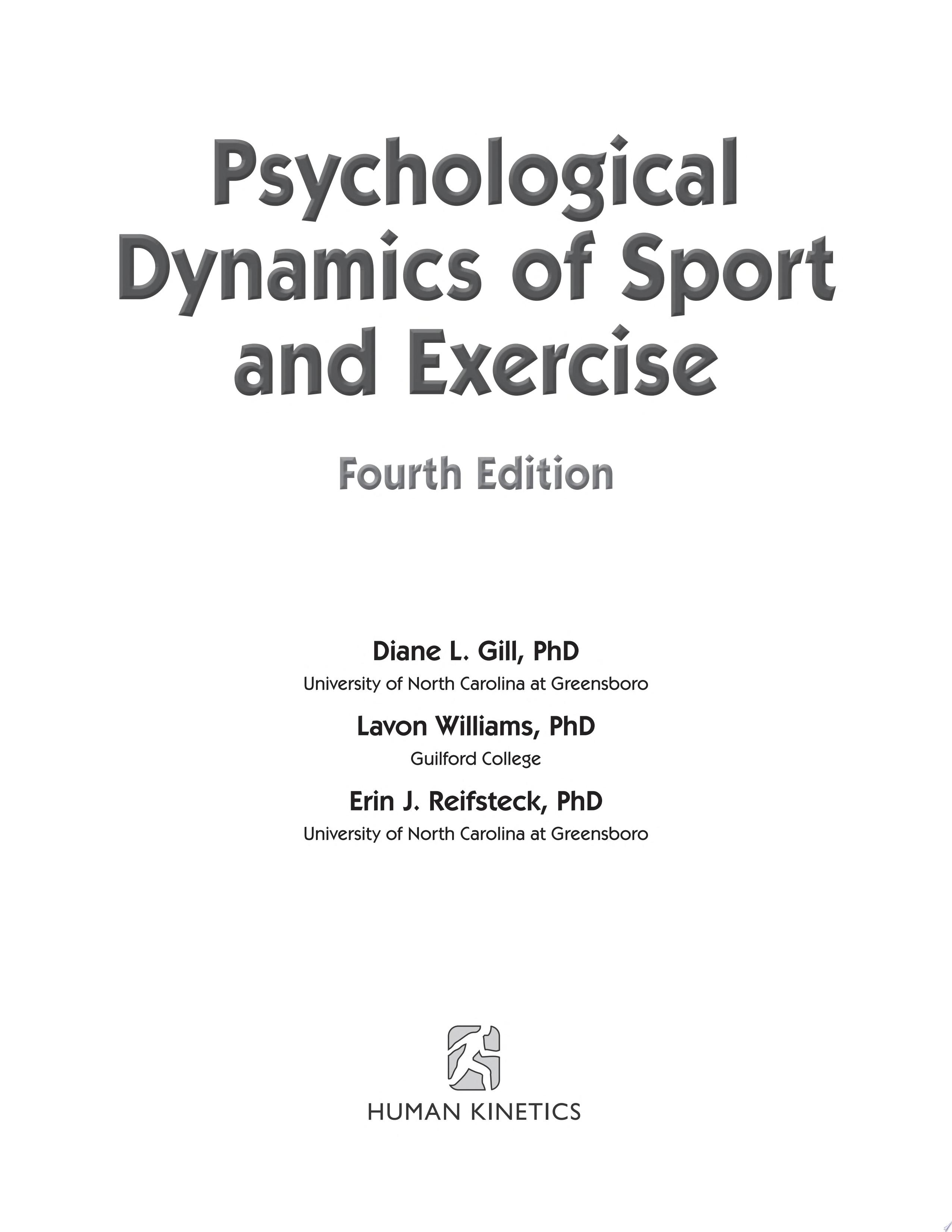 Psychological Dynamics of Sport and Exercise 4th Edition