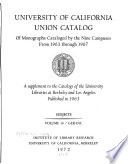 University of California Union Catalog of Monographs Cataloged by the Nine Campuses from 1963 Through 1967: Subjects