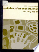 Solid Waste Management  Available Information Materials Book