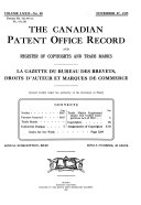 The Canadian Patent Office Record And Register Of Copyrights And Trade Marks Book PDF