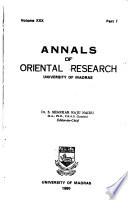Annals of Oriental Research of the University of Madras