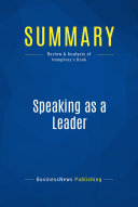 Summary  Speaking as a Leader