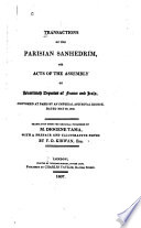 Transactions of the Parisian Sanhedrim : or, Acts of the Assembly of Israelitish deputies of France and Italy, convoked at Paris by an imperial and royal decree, dated May 30, 1806