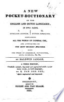 A New Pocket dictionary of the English and Dutch Languages  in Two Parts