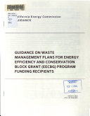 Guidance on Waste Management Plans for Energy Efficiency and Conservation Block Grant  EECBG  Program Funding Recipients