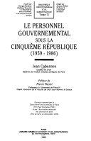 Le personnel gouvernemental sous la Cinquième République
