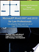 Microsoft Word 2007 And 2010 For Law Professionals