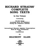 Richard Strauss  complete song texts Book PDF