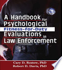 A Handbook For Psychological Fitness For Duty Evaluations In Law Enforcement Book PDF