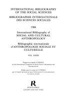 Bibliographie Internationale D anthropologie Sociale Et Culturelle