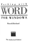 Working With Word For Windows Book PDF