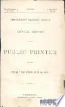 Annual Report Of The Public Printer For The Fiscal Year Ended June 30 1895