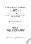 A Bibliography of Nineteenth Century Legal Literature