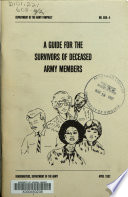 A Guide for the Survivors of Deceased Army Members Book PDF