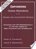 Empowering Human Resources In The Merger And Acquisition Process Book PDF