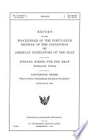 Report of the Proceedings of the     Meeting of the Convention of American Instructors of the Deaf Book PDF