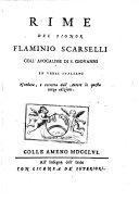 Rime Del Signor Flamino Scarselli