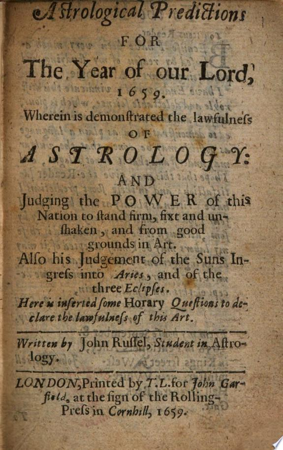 Astrological predictions for the year of Our Lord  1659  etc