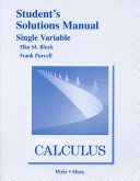 Student Solutions Manual, Single Variable for Thomas' Calculus
