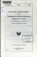 Legislative Activities Report Of The Committee On Foreign Relations United States Senate