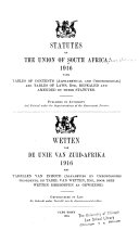 Statutes of the Union of South Africa 1910-