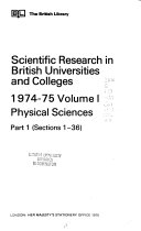 Scientific Research in British Universities and Colleges